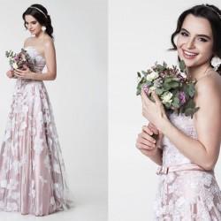 Rožinė, vestuvinė suknelė