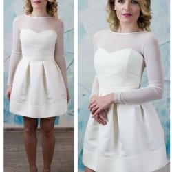 trumpa vestuvine suknele su ilgom rankovem
