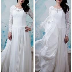 vestuvine suknele su ilgom rankovem, lengvu sijonu