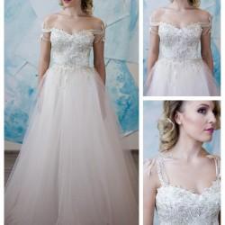 vestuvine suknele pastelines spalvos, aukso spalvos neriniai, pustas, tiulinis sijonas