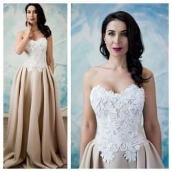 kremines spalvos vestuvine suknele