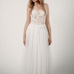 Vestuvinė suknelė su gipiūru ir tiuliniu sijonu
