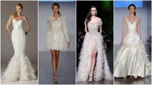 Vestuvinė suknelė su plunksnom