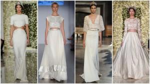 Dviejų dalių vestuvinės suknelės